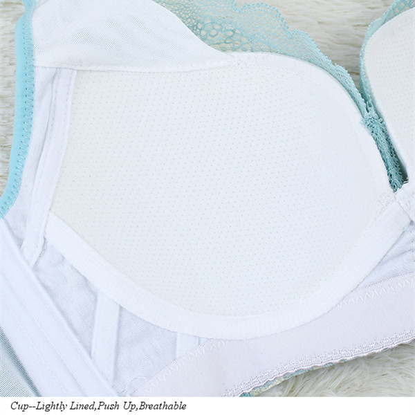 Sexy Lighted Lined NoRims Bra Cozy Mesh Flower Embroidery Thin Breathable Underwear