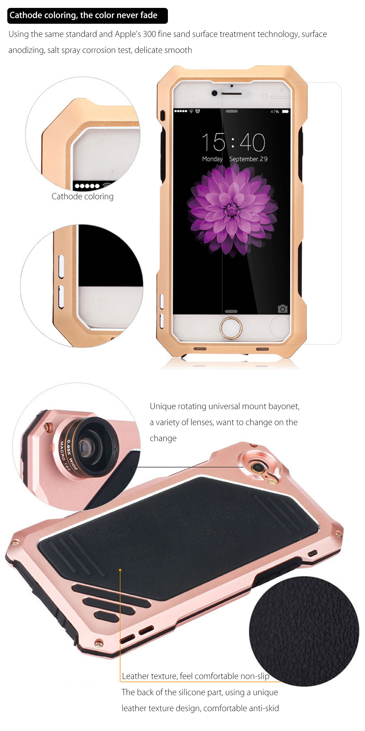 4 In 1 Waterproof Case Wide Angle Macro Fisheye Camera Lens For iPhone 6 / 6s Plus 5.5 Inches