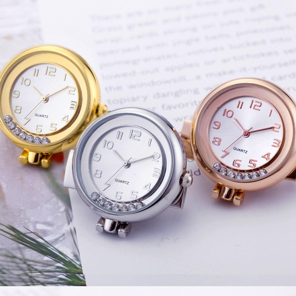 Casual Style Crystal Vintage Stainless Steel Pocket Watch