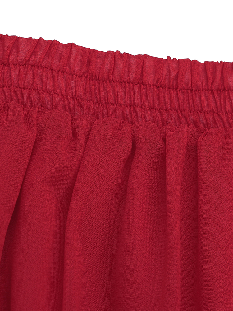 Bohemian Women Pleated Pure Color Chiffon Skirts