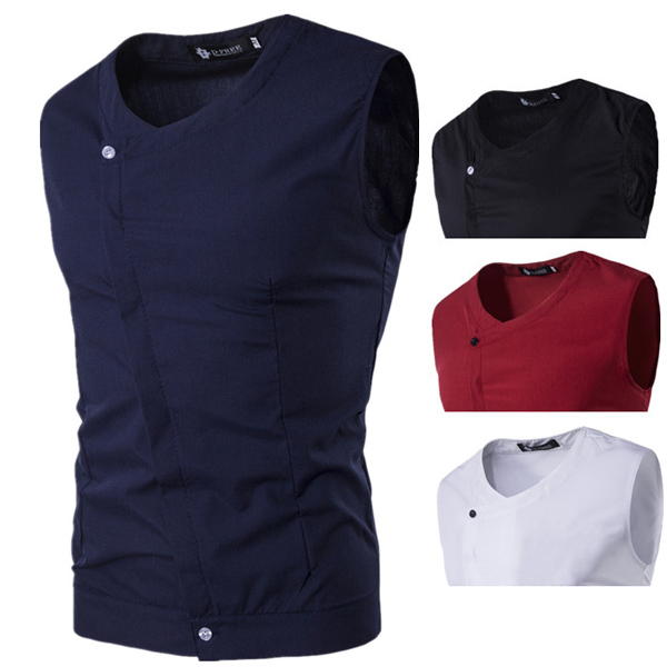 Mens Sleeveless Asymmetrical Placket Fashion Casual Solid Color Slim Fit Shirt