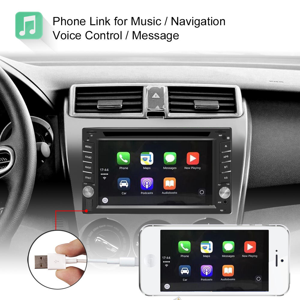 6.2 Inch 2 Din HD Car DVD Player Radio Stereo WinCE bluetooth Carplay for GPS Navigation Support Rear Camera
