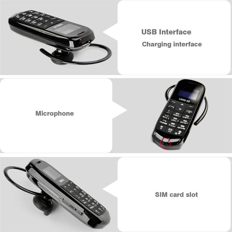 LONG-CZ J8 0.66-inch 300mAh Single Micro SIM bluetooth Headset Mini Card Phone