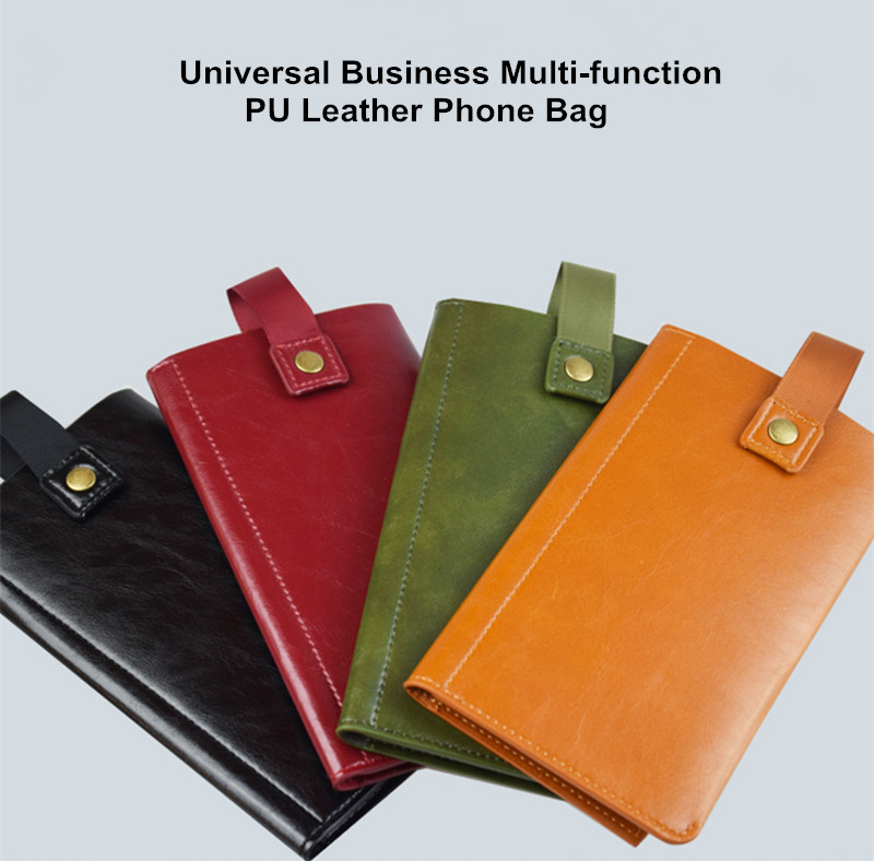 Universal Business Multi-function PU Leather Card Slot Wallet Case Phone Bag for Cell Phone under 5.5