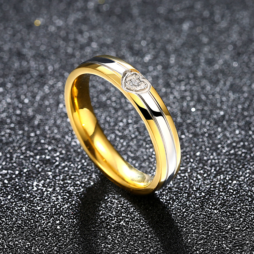 Heart Gold Crystal Stainless Steel Finger Ring Women Men Jewelry For Wedding Date Gift
