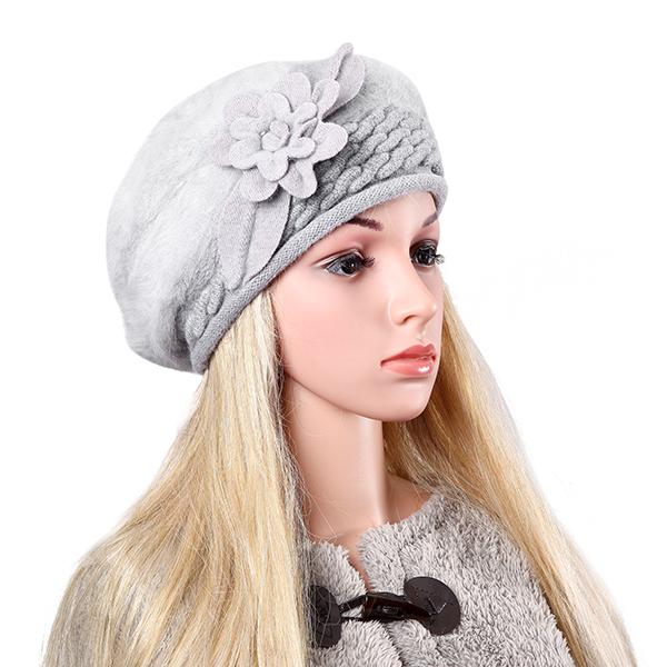 Women Ladies Faux Rabbit Fur Knitted Crochet Beanie Cap Knitting Elastic Baggy Hat