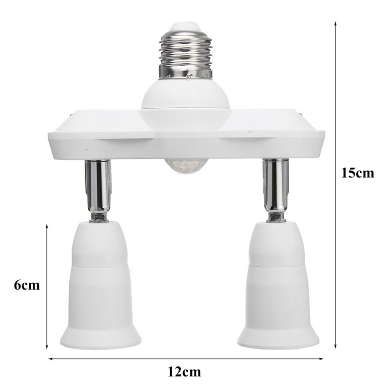 E27 Double Head Infrared PIR Motion Sensor LED Light Lamp Bulbs Holder Socket AC110-240V