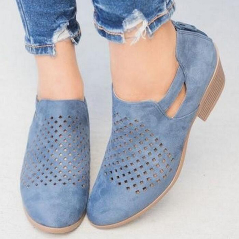 Women Pattern Hollow out Suede Pumps