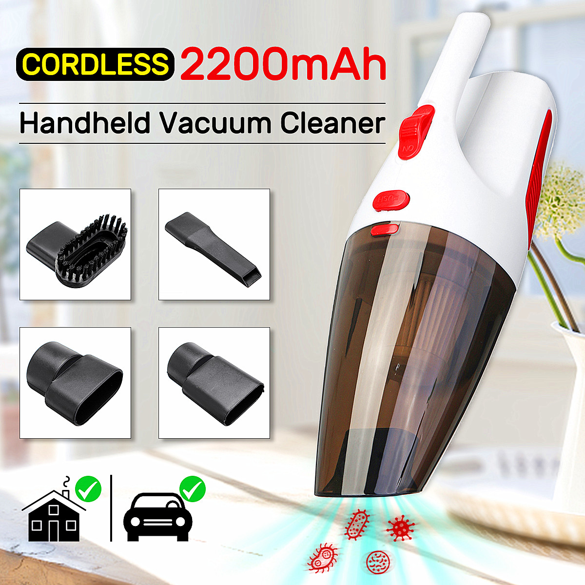 110-240V 120W High Power Rechargeable Cordless Wet Dry Portable Car Home Vaccum Cleaner