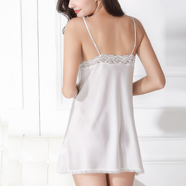 Silk Translucent Floral Lace Backless Straps Sexy Sleepwear