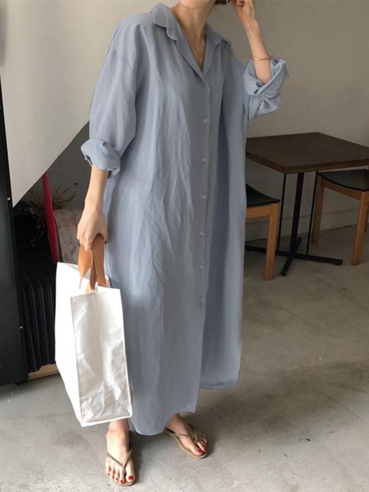 Plus Size Women Loose Solid Color Long Sleeve Shirt Dress