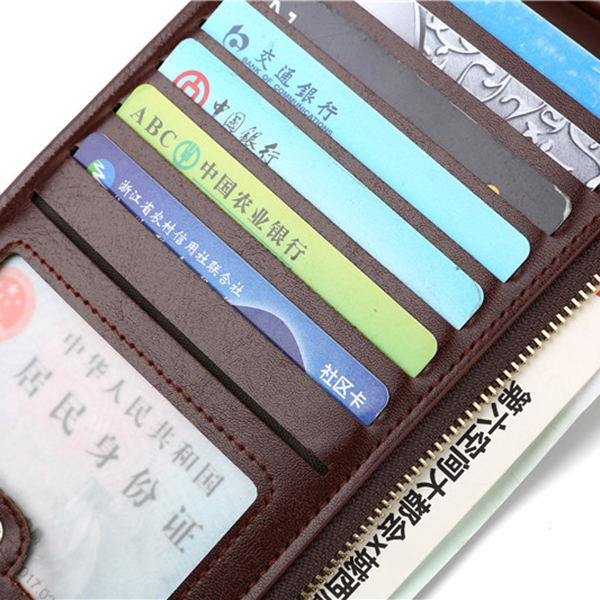 Women Large Capacity 17 Card Slots Business Double Zipper Wallet