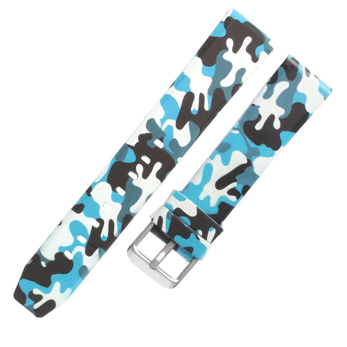 20mm/22mm Replacement Fashion Military Army Camo Watch Band Sports Silicone Rubber Strap