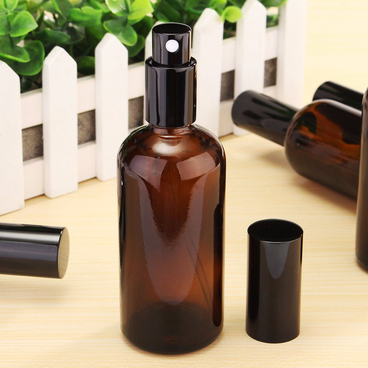 1pc 100ml Amber Glass Perfume Spray Refillable Bottle Aromatherapy Essential Oil Pipette with Droppe