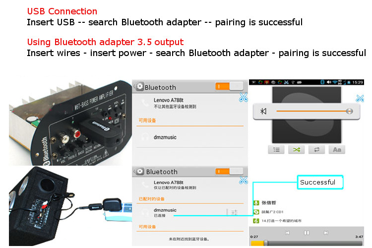 USB bluetooth Wireless Audio Receiver Stick Adapter