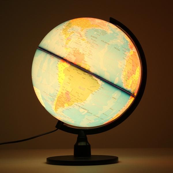 Creative Illuminated World Earth Globe Rotating Night Light Desktop Decoration