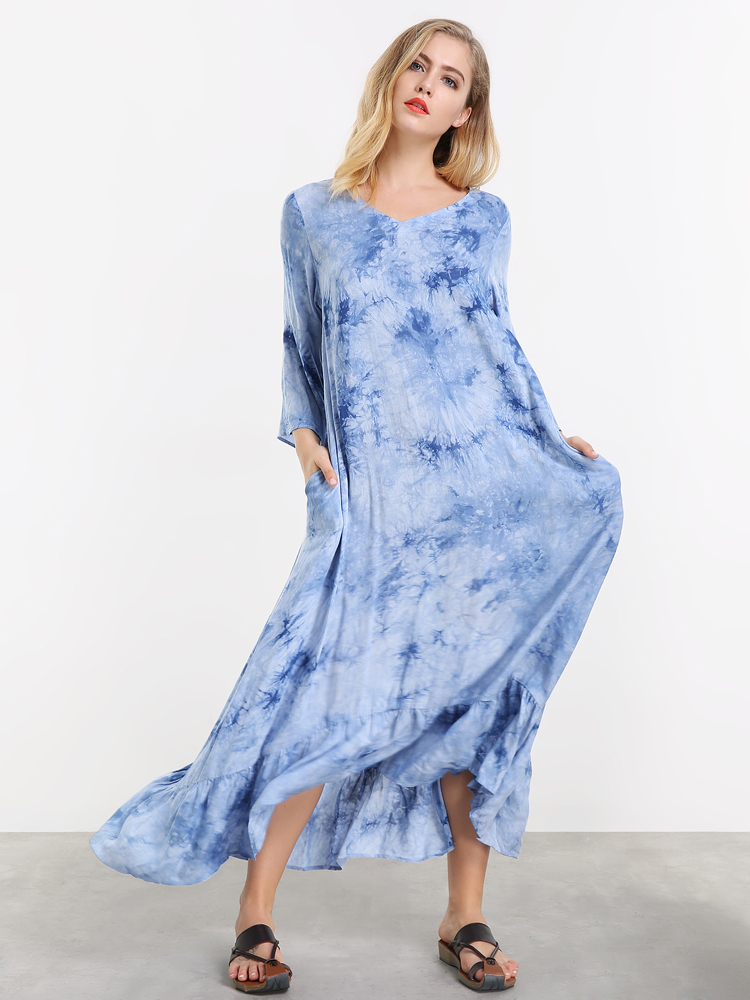 Casual Women Loose Print Ruffled Hem Maxi Dress