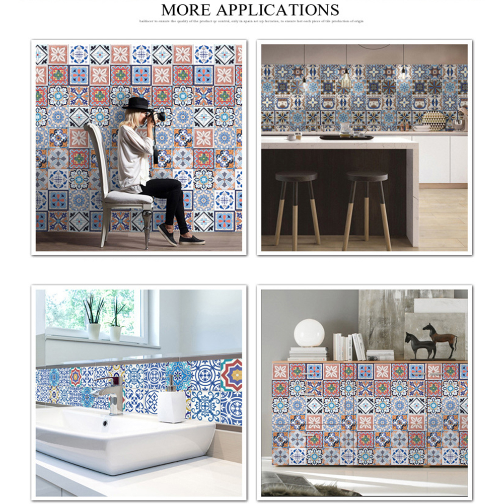 5M PVC Wall Sticker Bathroom Waterproof Self Adhesive Wallpaper Kitchen Mosaic Tile Stickers For Walls Decal Home Decoration DIY Tile Sticker High-end Floor Tile Decorative Line Stickers Flooring Tile