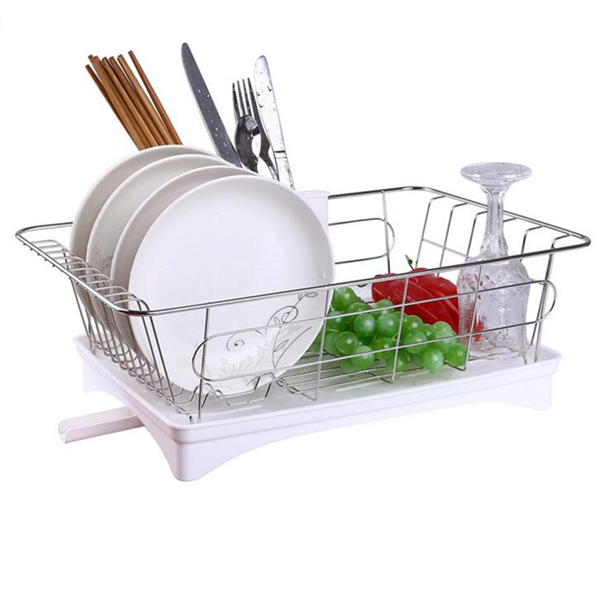 Large Stainless Steel Shelf Kitchen Storage Rack Dish Draining Tray Cutlery Holder