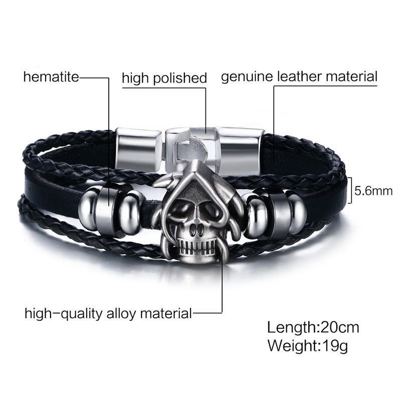 Trendy Leather Punk Skull Head Chain Vintage Men Bracelet Jewelry for Men