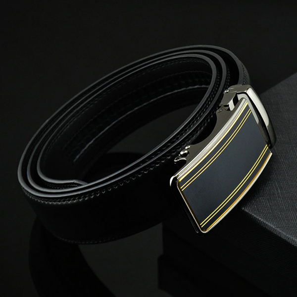 Mens Fashion Genuine Leather Belts Business Metal Automatic Buckle Strap Jeans Waistband
