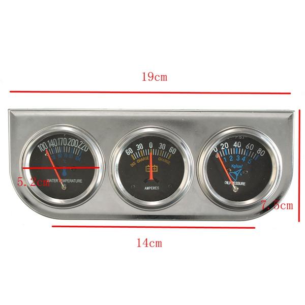 Car Auto Meter Trio Ammeter Water Temp Oil Pressure Gauge Mechanical Sliver