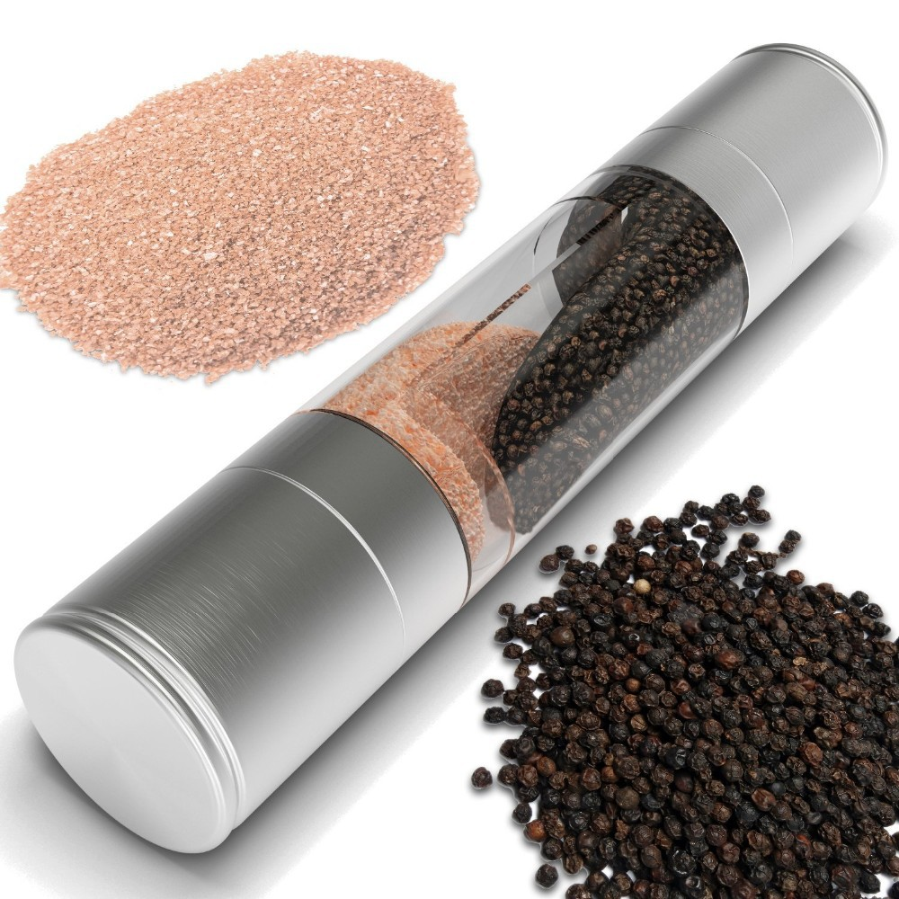 2 In 1 Stainless Steel Manual Pepper Salt Mill Grinder Spice Mill Kitchen Tool