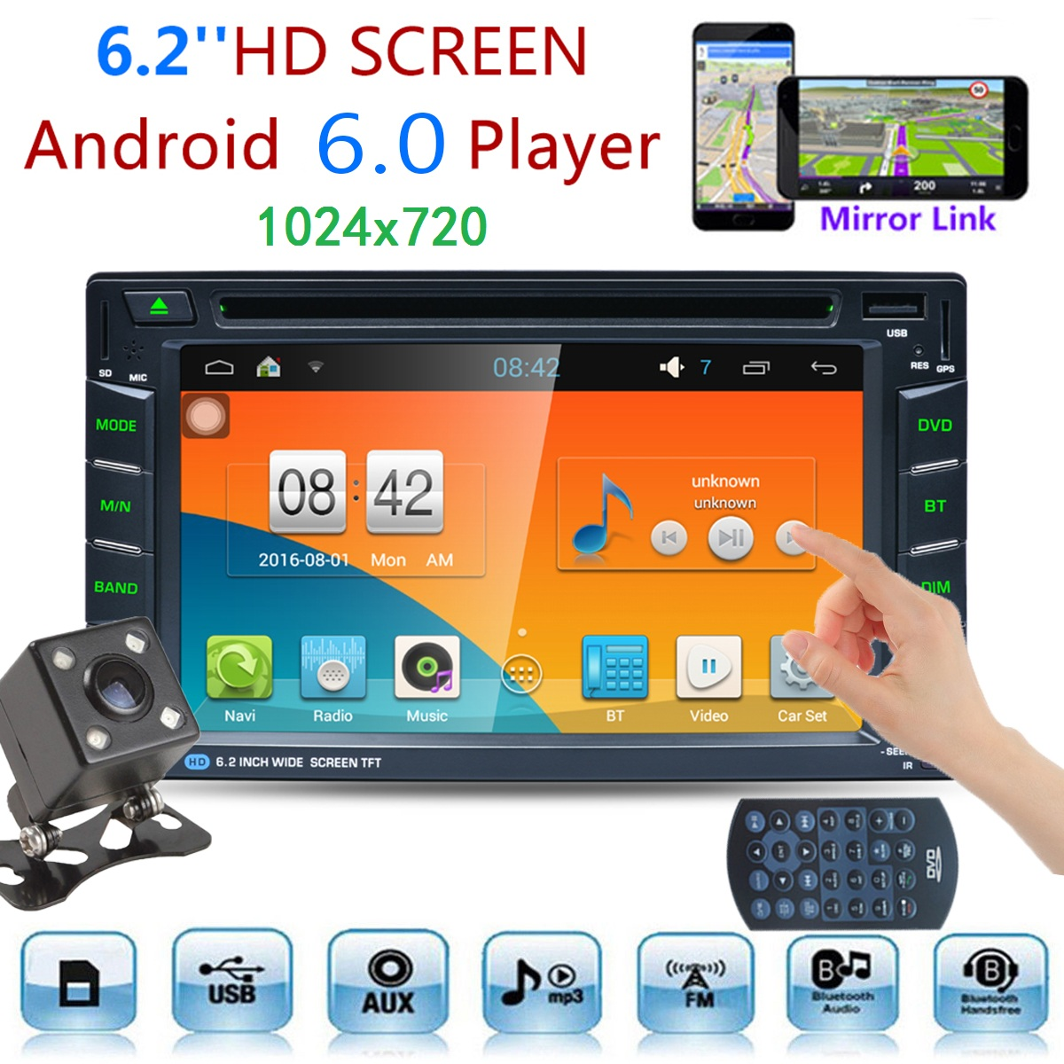 6.2 Inch Car DVD Player 2 DIN Radio Stereo Android 6.0 DVR Rear Camera GPS WIFI