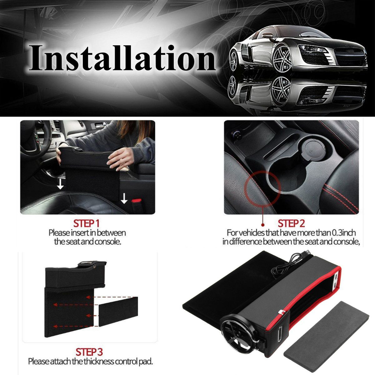 USB Charger Car Right Side Seat Crevice Storage Box Seat Gap Filler Organizer Catcher Box Cup Holder