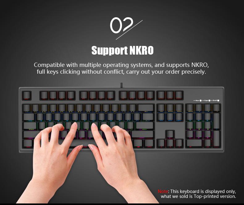 KEYCOOL Glory2S 104 Key NKRO Gateron Switch Mixed Backlit Mechanical Gaming Keyboard