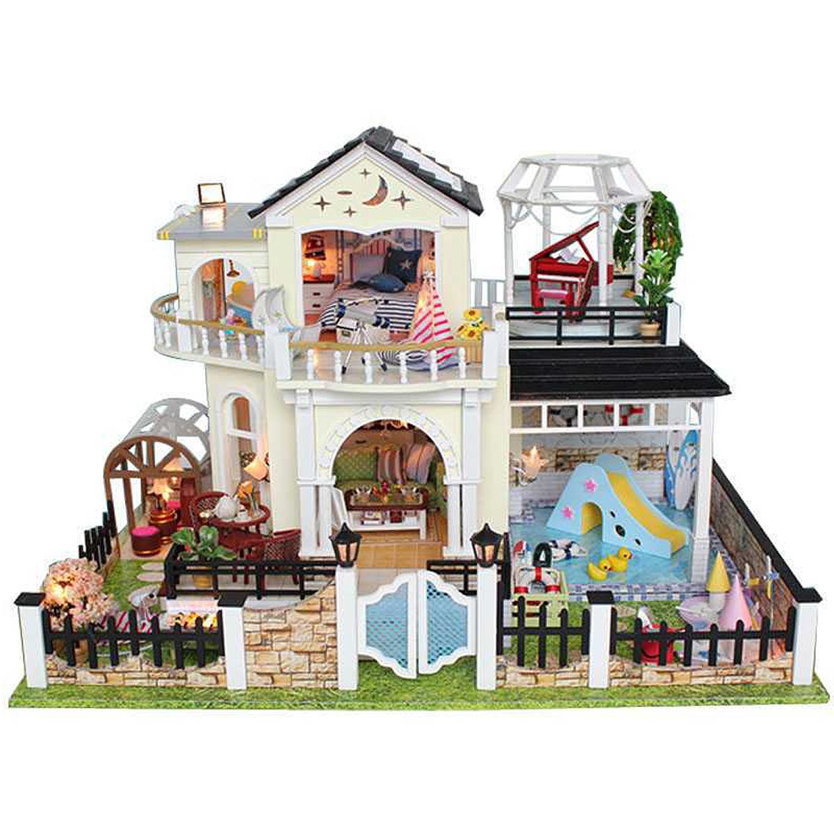 DIY Wooden Doll House Elixir Of Love Villa Miniatures LED Furniture Kit Light