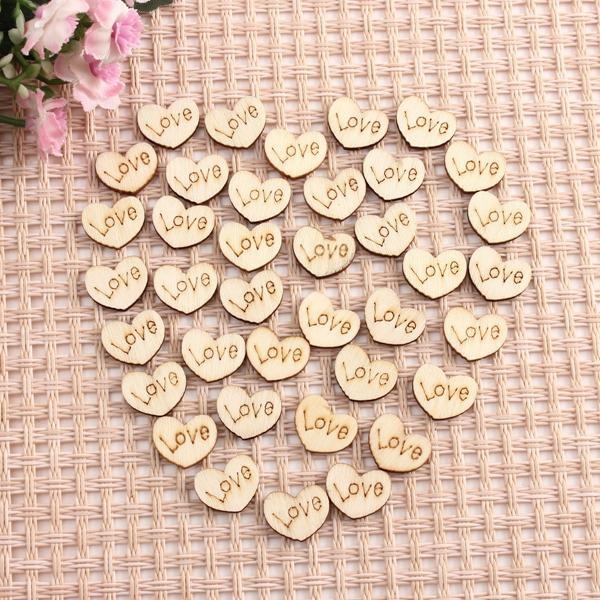 50Pcs Mini Wooden Love Hearts Wedding Decoration Scrapbooking Crafts DIY