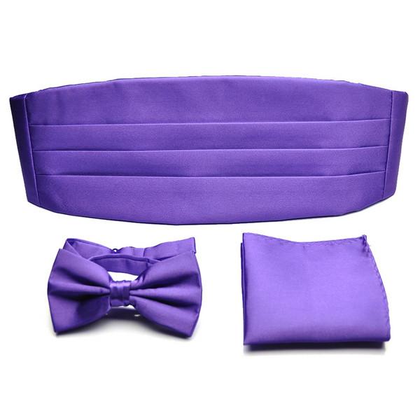 PenSee Mens Neckties Formal Solid Pre-tied Bow Tie & Pocket Square & Cummerbund Set