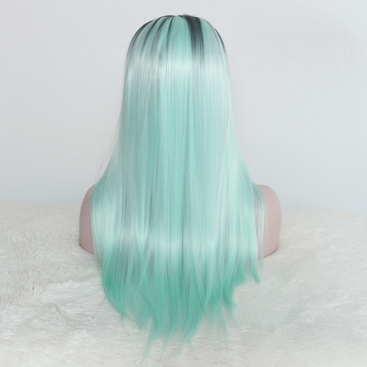 Women Straight Mint Green Ombre Synthetic Wigs Hair Long Wig Cosplay Party
