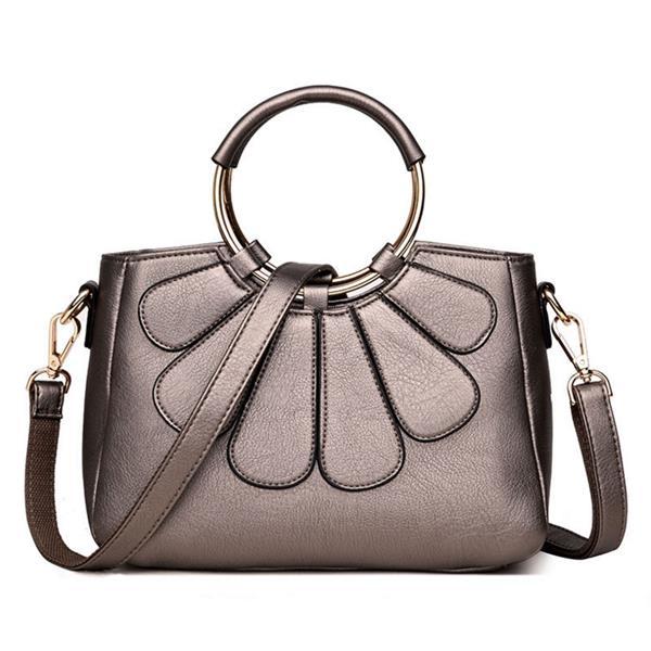 Women PU Leather Elegant Flower Stitching Solid Handbag Casual Shoulder Crossbody Bag