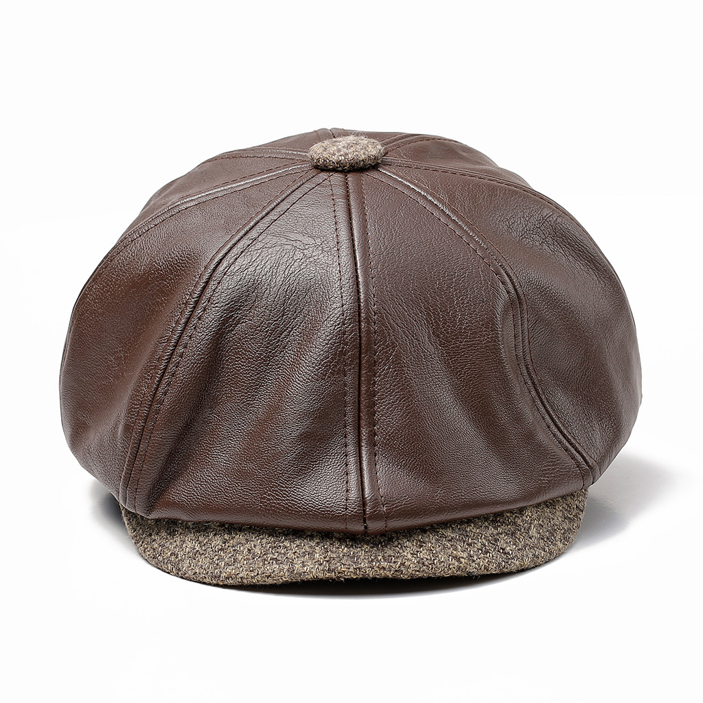 Men Middle-aged Artificial Leather Painter Beret Caps