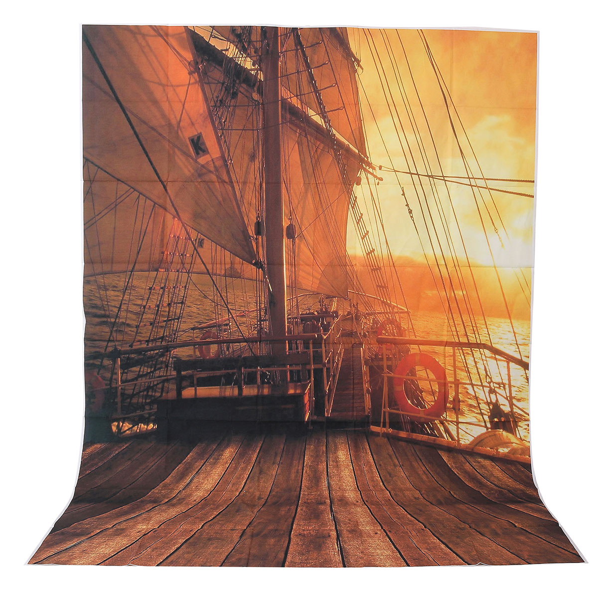 5x7FT Vinyl Sunset Pirate Wood Ship Photography Backdrop Background Studio Prop