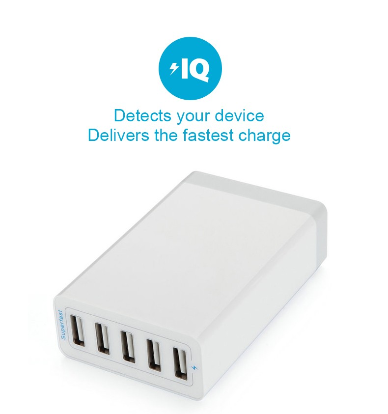 5V 8A EU/US Plug 5 USB Ports Fast Charging Home Travel Wall Charger Adapter for Samsung S8 Xiaomi 6