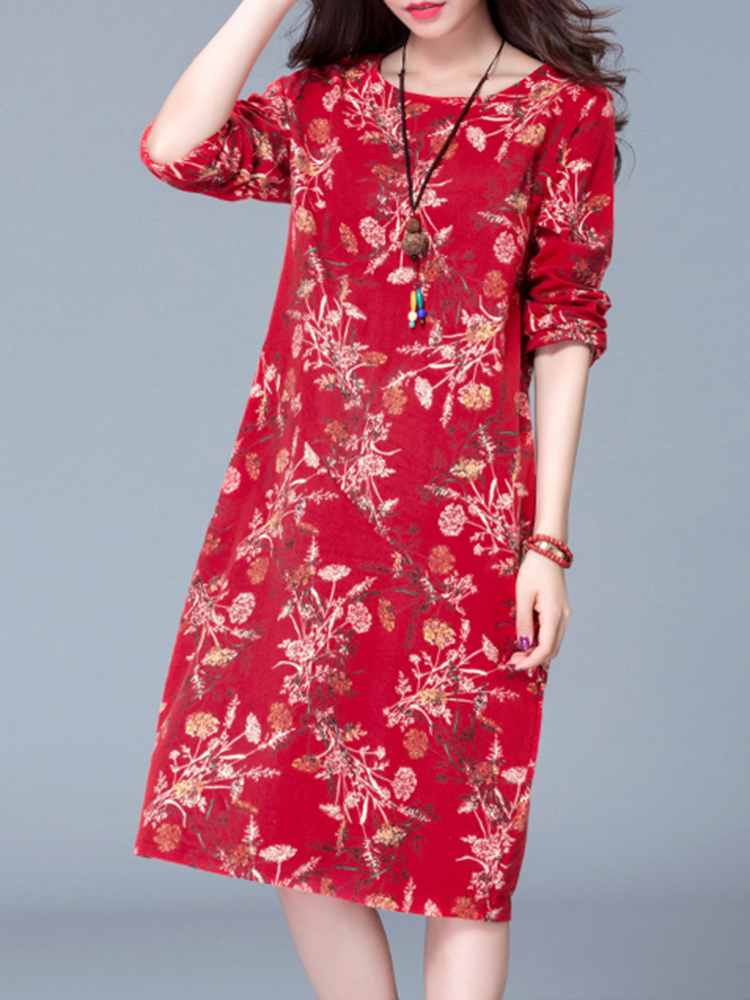 Printed Loose O-neck Long Sleeve Dress For Women