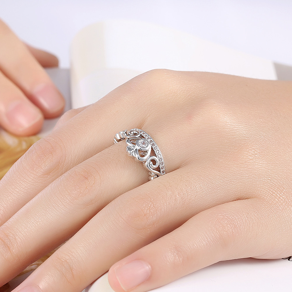 INALIS Lovely Heart Zircon Platinum Plated Opening Gift Wedding Finger Rings