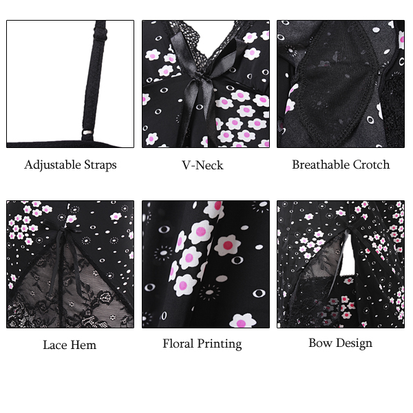 Sexy Women Deep V Floral Printing Black Sleepwear Set Lace Ice Silk Nightwear