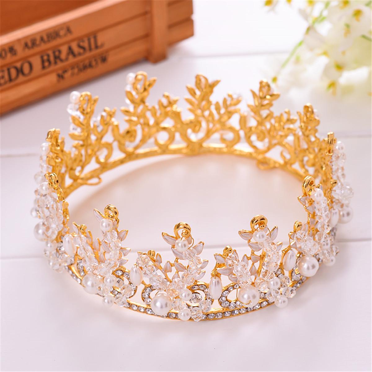 Bride Rhinestone Crystal Pearl Crown Tiara Head Jewelry Princess Queen Headpiece Wedding Accessories