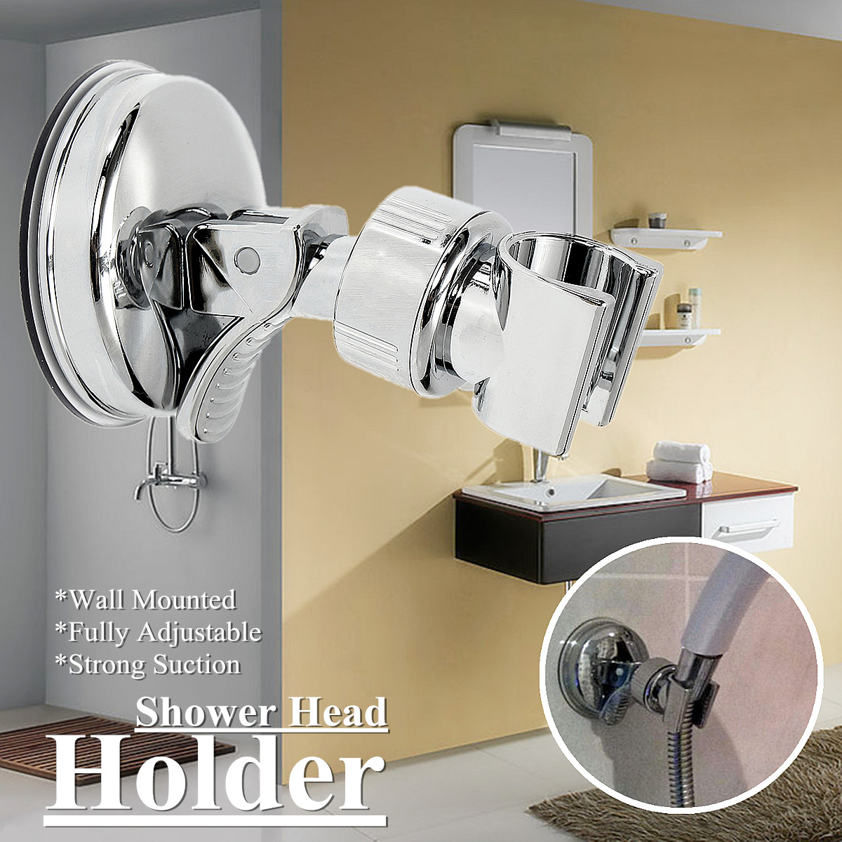Adjustable ABS Plastic Shower Head Holder With Suction Cup Wall Handheld Shower Water Hose Bracket
