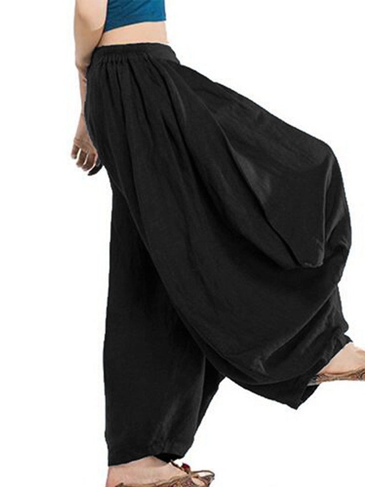 Women Elastic Waist Loose Harem Long Pants