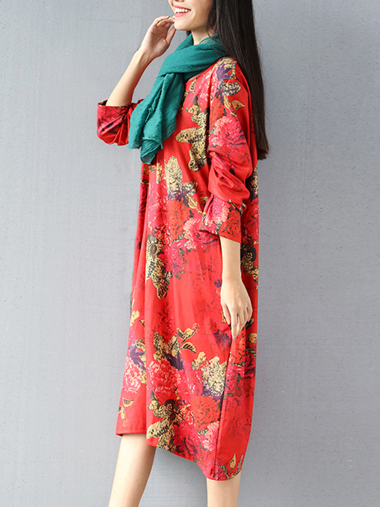 Floral Print O-neck Long Sleeve Dress