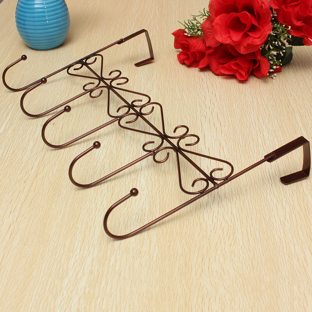 Vintage 5 Hooks Bathroom Coat Clothes Hat Bag Towel Hanger Door Hanging Rack Holder