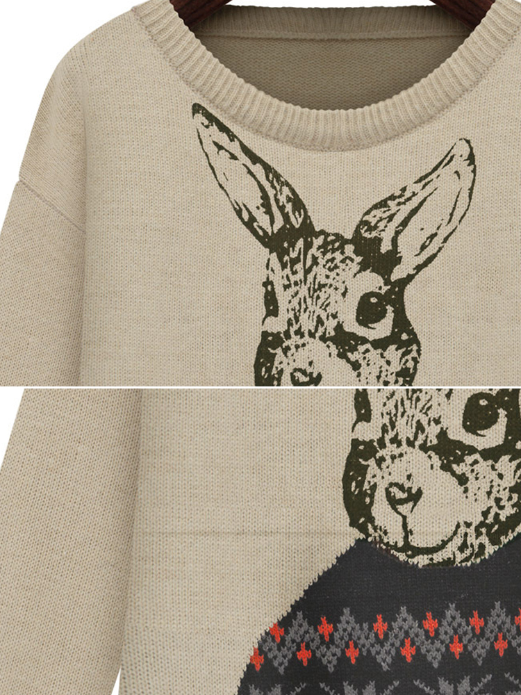 Rabbit Pattern Pullover Sweater