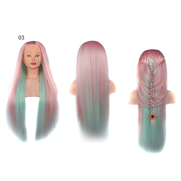 26 Inch Gradient Hair Training Head Model With Clamp Holder