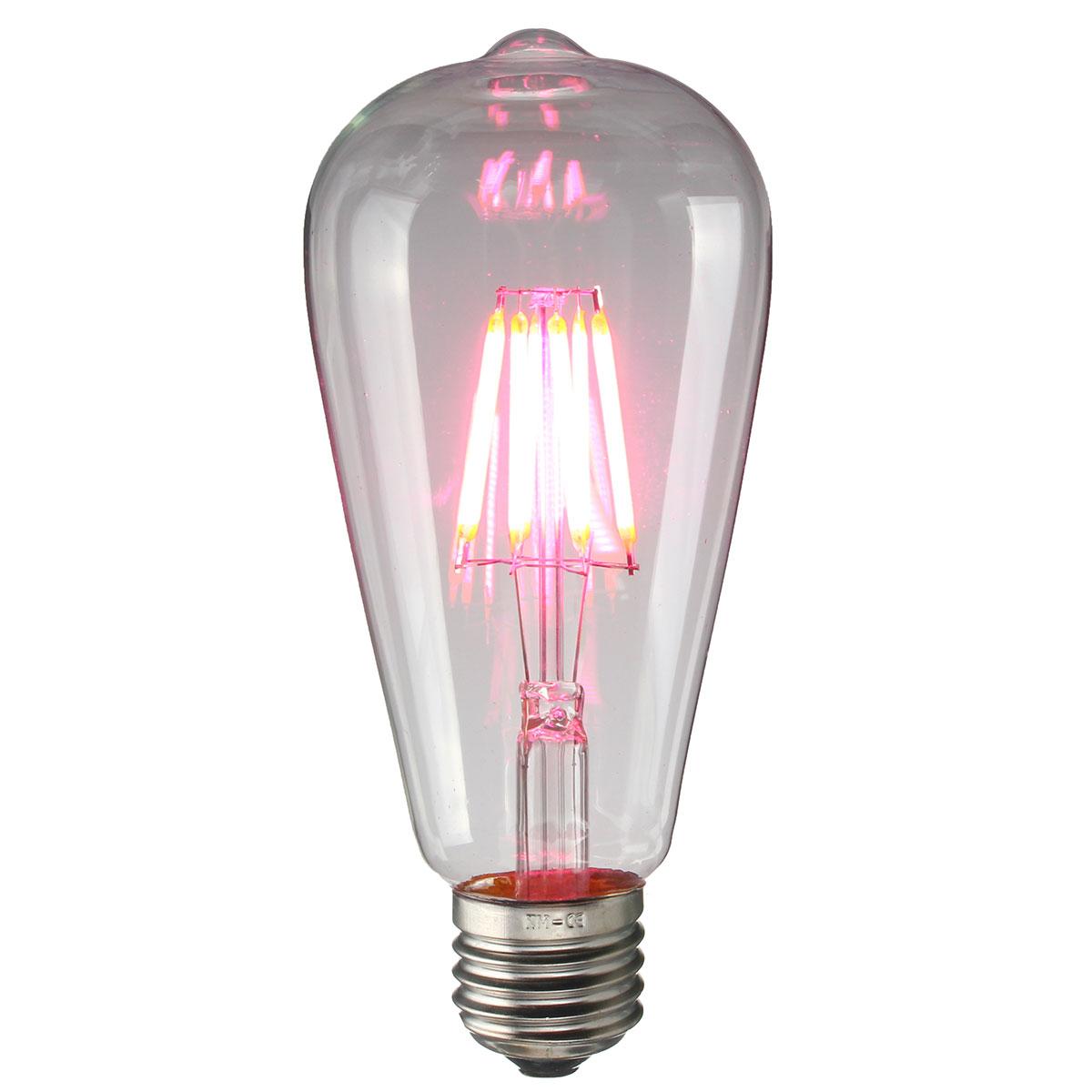 E27 ST64 8W RGB Edison Rereo Glass 800Lm Vintage Incandescent Light Lamp Bulb AC220V