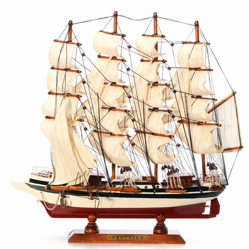 Handmade Ship Craft Wooden Sailing Boat Wood Sailboat Model Home Decor